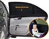 """Universal Car Rear Side Car Window Shade Double Layer Design Baby for Auto Back Seat Passenger/Women/Kids/Baby/Pets Double Layer Design(2 Pack)-21""""x14"""" Cling Sunshade"""