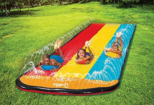 Jambo Triple Lane Slip, Splash and Slide for Backyards | Water Splash Slide Waterslide with 3 Boogie Boards | 16 Foot Three Sliding Racing Lanes with Sprinklers | Durable Quality PVC Construction