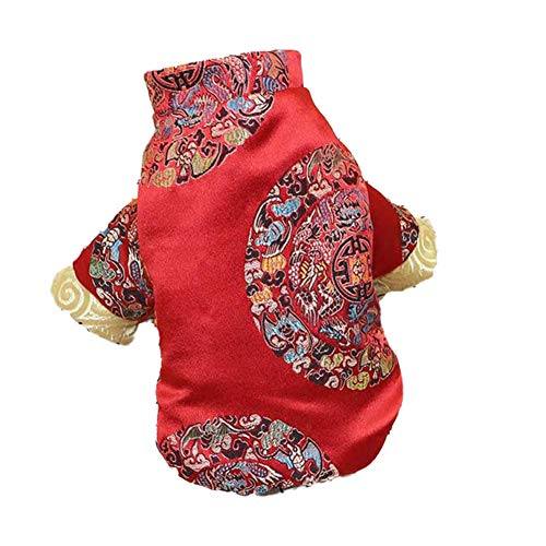 DELIFUR Dog Tang Costume with Peony Pattern Pet Winter Coat Happy New Year Qipao Costume Tang Dynasty Cat Dress for Schnauzer Teddy French Bulldog (XX-Large, Blessing)