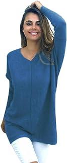 foreverH Damen Pullover Mode O-Hals Einfarbig warm weich Lange /Ärmel Pullover Bluse