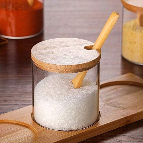 Recipientes Hermeticos Alimentos Caja de almacenamiento con tapa de bote hermético, vidrio transparente con tapa de madera, tarro de almacenamiento para caramelo té galletas nueces cereales Almacenaje