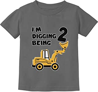 2nd Birthday Bulldozer Construction Party 2 Years Old Boy Toddler Kids T-Shirt - Grey - 24M