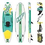 Bestway Freesoul Tech 65310 - Tabla inflable de paddle surf con remo de aluminio, blanco y verde (SUP kit con correa, bomba de hinchado con manómetro y bolsa de transporte)