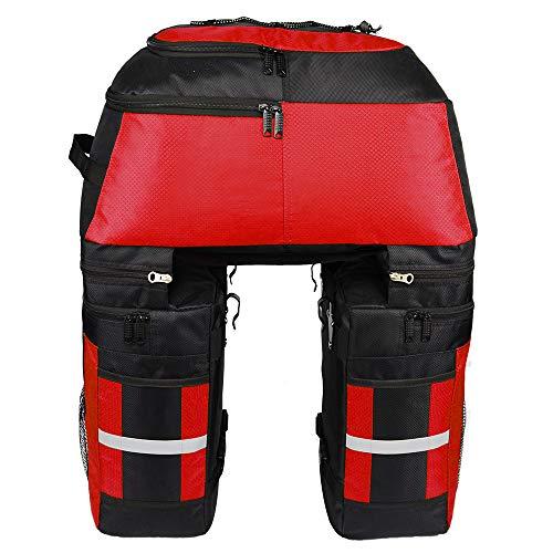 Viktion 3 in 1 wasserdicht Fahrrad Rücksäcke Gepäckträgertasche Gepäckträger Gepäcktasche 65L mit Regenschutz für Mountainbike (rot)
