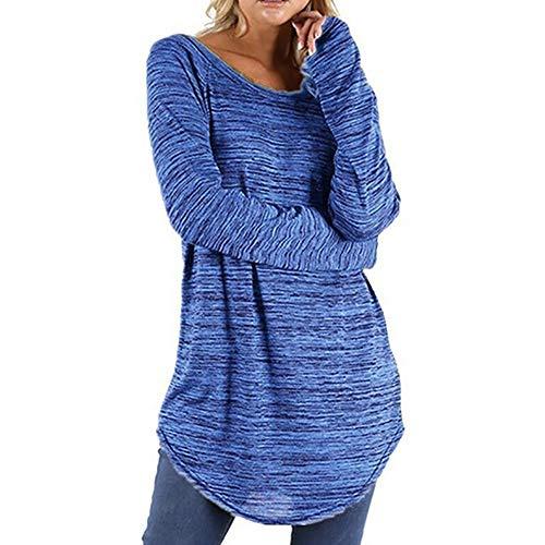KaloryWee Bluse Tops Shirt Pullover Mode Damen Frauen Plus Größe Einfarbig RounLange S-5XL