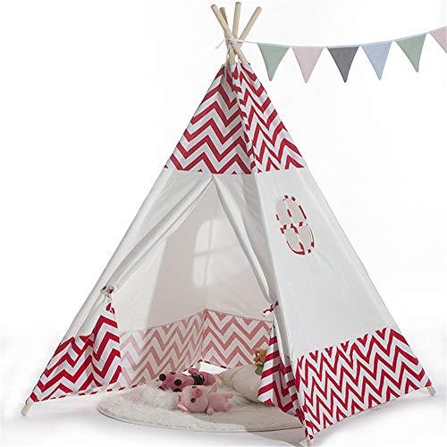 Carpa Para Niños Tienda de juguetes for bebés de interior de onda roja Tienda de castillo indio a rayas Decoración navideña Tipi con bolsa de transporte Bolsillo de ventana for niñas Niños Bebés Inter