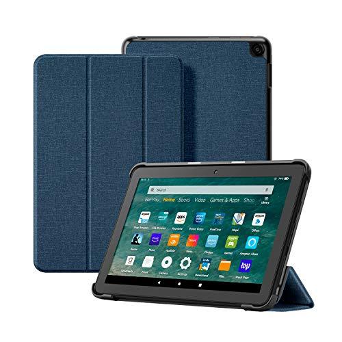 OLAIKE Custodia in tessuto per Tutto nuovo tablet Kindle Fire HD 8 8 Plus(10a Generazione, 2020), Copertura del supporto a tre ante con Auto Sleep Wake (Solo per 2020 Fire HD 8 8 Plus), Blu