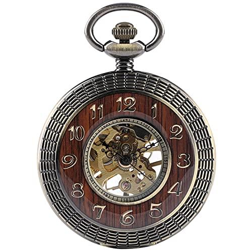 SSXR Reloj De Bolsillo Mecánico De Madera De Bronce Viento De Mano Steampunk Esqueleto Transparente Hombres Mujeres Reloj Colgante Relojes Reloj De Bolsillo-China, a