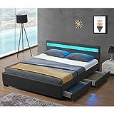 Juskys LED Polsterbett Lyon mit Bettkasten 140 x 200 cm – Bettgestell mit Lattenrost - Kunstleder – grau – Jugendbett Jugendzimmer Möbel - 3
