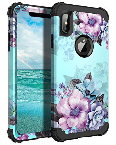 Casetego Compatible with iPhone Xs Max Case,Floral Three Layer Heavy...