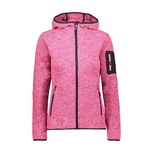 CMP Knit Tech Melange Fleecejacke mit Kapuze, Damen, Pink Fluo Mel-Anthrazit, 40