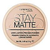Rimmel London - Cipria Compatta Stay Matte - Polvere Opacizzante a Lunga Tenuta per Pelli Grasse e Miste - 005 Silky Beige- 14 g