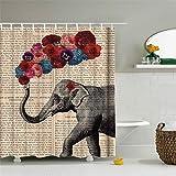 hipaopao Duschvorhang mit niedlichem Elefanten-Blumen-Muster, afrikanische Tiere, Vintage-Stil, Stoff, Badezimmer-Dekor mit Haken, wasserdicht, waschbar, 183 x 183 cm, Grau / Rot / Blau