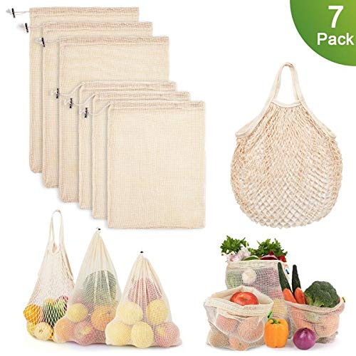 Reusable Produce Bags, Mesh Bags Cotton Grocery Bag for Shopping and Storage, ECO-Friendly Muslin Bags (7 Pack 2 Types)