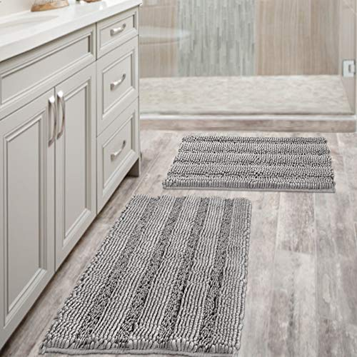 Non Slip Thick Shaggy Chenille Bathroom Rugs Soft Bath Mats for Bathroom Extra Absorbent Floor Mats Bath Rugs Set for Kitchen/Living Room (Set of 2, 20' x 32'/17' x 24', Dove)