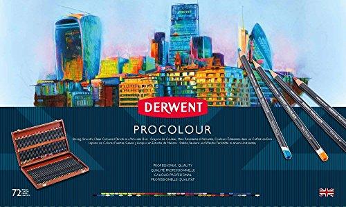 Derwent PROCOLOR Buntstifte Set 72 Stück in Geschenkbox aus Holz Profi-Qualität 2302524