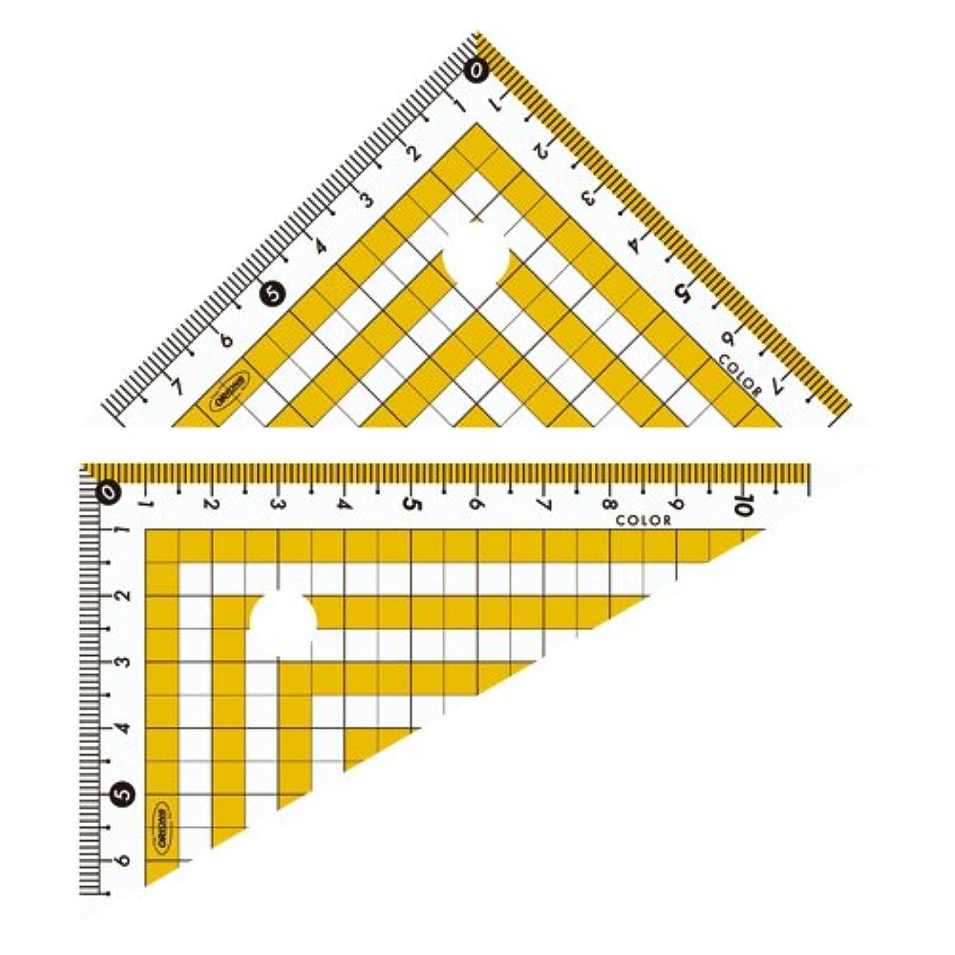 パラシュート混乱させる連帯共栄プラスチック カラー三角定規 イエロー CPK-120-Y 3個セット