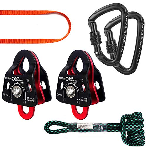 GM CLIMBING Hardware Kit for 5:1 Mechanical Advantage Pulley Hauling Dragging System Block and Tackle (Orange Sling)