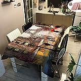 Rectangular Manteles de Mesa, Morbuy Impermeable Antimanchas Mantel Lavable Ciudad Arquitectura Impresión 3D Poliéster Manteles para Cocina Salón Comedor Decoración (Amarillo Paris,100x140cm)