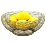 Mesh Fruit Bowl Decorative Fruit Basket Metal Candy Dish Holder Stand for Kitchen Counter Dining Room Table Office, 10 Inch (Black)
