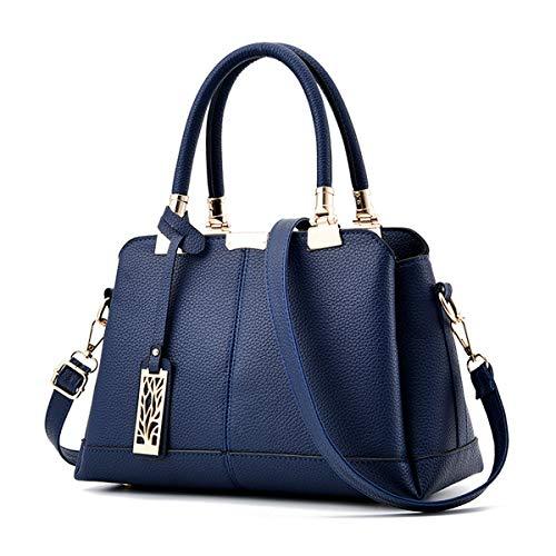 MINASAN Damen Handtaschen Schulterbeutel, Frauen Stilvolle PU Designer Schultertasche Taschen Umhängetasche Geschenk Zum Muttertag (Dunkelblau, 30cm * 15cm * 19cm)