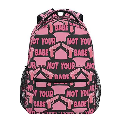 School Backpack ADMustwin Not Your Babe Guns Pattern Travel Shoulders Bookbag Lightweight Waterproof College Laptop Backpack Elementary Large for Girls Boy Woman Man Teens