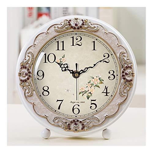 Reloj de Mesa Decorativo Estilo europeo Mute Dormitorio Mesa Reloj Pastoral Simple Table Reloj Adornos Sala de estar Decoración Detalle Pequeña Mesa Reloj Dormitorio Mesita de noche Reloj de mesa Relo