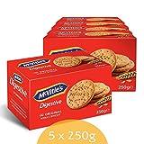 McVitie's Digestive 5 x 250 g – knusprige Kekse aus Großbritannien – unvergleichlich leckere Bisquits nach traditioneller Rezeptur – Original