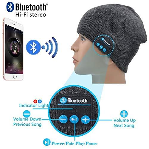 ONX3 Dunkelgraue drahtlose Beanie-Hut-Kappe Smart Winter Knit Hat V4.1 Musikalische Kopfhörer Kopfhörer mit 2 Lautsprechern Unisex Einzigartige Weihnachts-Tech-Geschenke Kompatibel mit Cubot S600