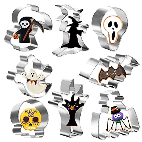 HAMOOM 8stk Halloween Ausstecher Totenkopf Backform Hallowen Keksausstecher Edelstahl Ausstechformen Spinne Plätzchenausstecher Gespenst Cookie Cutter für Küche DIY Süßigkeiten Fondant Keks Backen