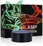 Luces de ilusión 3D,7 colores+control remoto Acrílico Plano LED Sensitive Touch Sensor Lámpara Cargador usb luz nocturna Touch botón regalo creativo casa oficina decoració,regalo de Valentín (Gato)