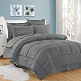 Sweet Home Collection 8 Piece Bed in A Bag Stripe Sheets, 2 Pillowcases, 2 Shams Down Alternative All Season Warmth, Queen, Dobby Gray