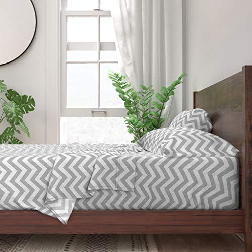 Buy Roostery Sheet Set, Chevron Geometric Gender Neutral Nursery White Kids Stripe Print, 100% Itall...
