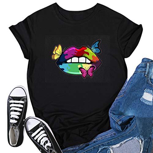 Proumy Damen T-Shirt mit Katze Aufdruck Sommer Casual Kurzarm Oversize Bluse Tee Shirt Vintage Lässig 3D Drucken Rundhals Lose Oberteile Tops(Schwarz -03,XL)