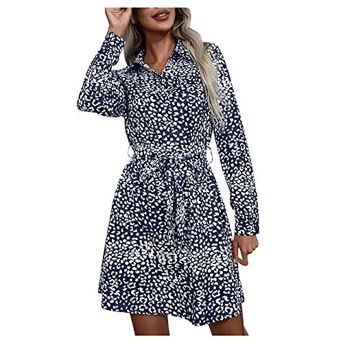 Ykghfd Vestido de mujer estampado mini vestido manga larga cuello en V solo pecho vestido casual vestido de fiesta, azul marino, S