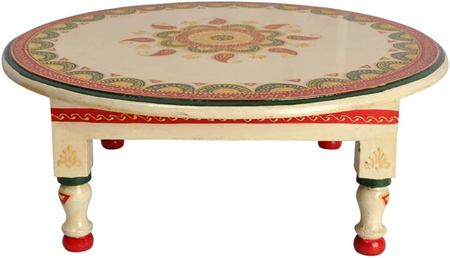 Lalhaveli White Decorative Hand Painted Round Wooden Small Side Table 16 x 16 x 6 Inch