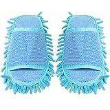Pantuflas para limpieza de suelos, zapatillas de microfibra Mop, zapatillas para limpiar suelos, mopas lavables, reutilizables, para baño, oficina, cocina, casa, pulido, color azul