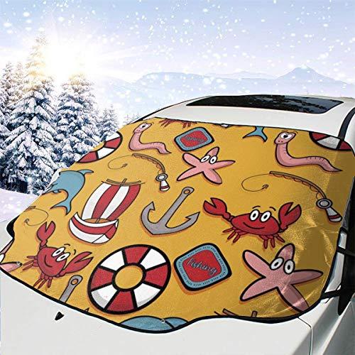 Pesca Cangrejo salvavidas Barco Vectorial Imagen Coche Cubierta de Nieve Frost Sun Parabrisas Parasol Impermeable Invierno Verano Auto Para Coche Camión Van Y SUV Personalizado