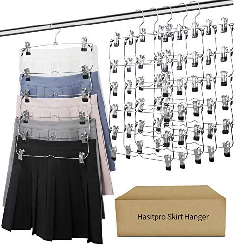 Hasitpro 6 Tier Skirt Pants Shorts Hangers with Adjustable Clips Space Saving No Slip Hangers product image