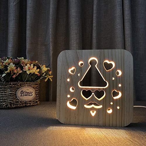 LG Snow Bonita lámpara de mesa decorativa de Papá Noel con luz de noche 3D hueca LED USB para dormitorio de los niños de 19 x 19 cm escritorio