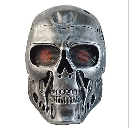ZLD Halloween-Maske, Terminator-Roboter Maske, Horror-Schädel, CS-Feldmaske, Masken Harz, Horror-Dekoration, Gold, Silber,Gold