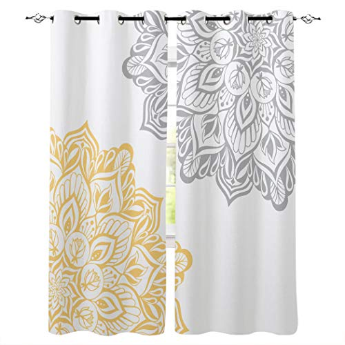 LOVE HOME DAY Window Curtains Treatments 2 Panels Set, Abstract Dahlia Pinnata Flower Privacy Drapes Curtain for Bedroom Living Room Sliding Glass Door Decor Gray and Yellow Floral Blossoms 40×63in×2
