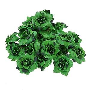 Happyyami 100pcs Artificial Rose Heads Faux Silk Stapelia Flower Heads Wedding Favor for DIY Flower Arch Bouquets Wreath Swag Centerpieces (Dark Green)