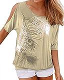 YOINS Camicetta Donna Estate Camicia Elegante Manica Corta Spalle Scoperte Bluse Estiva Floreale Top Maglietta con Motivo Bianco S