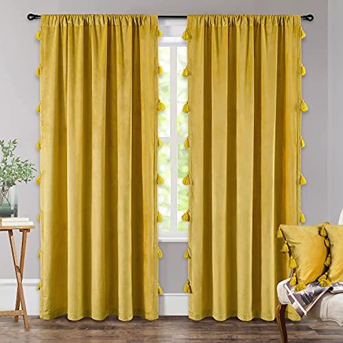 DriftAway Boho Velvet Handmade Tassel Curtain Room Darkening Thermal Insulated Window Curtain Rod Pocket 2 Panels 50 Inch by 84 Inch Gold Yellow