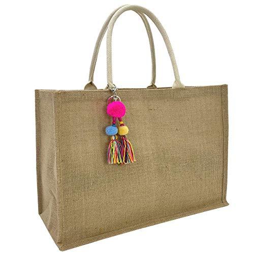 Hibala Woven Large Beach Bag Straw Bag Beach Tote Handmade Weaving Shoulder Bag Tassel Bag Handbag (Classic Style)