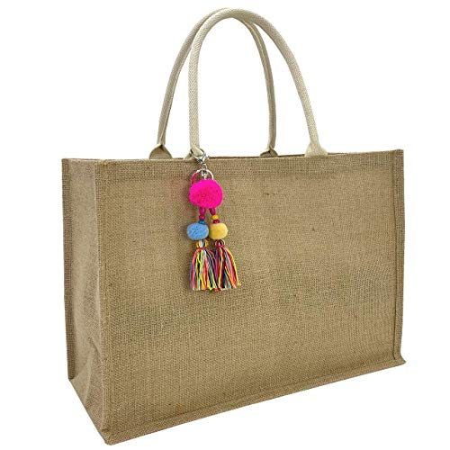 Hibala Woven Large Beach Bag Straw Bag Beach Tote Handmade Weaving Shoulder Bag Tassel Bag Handbag (Classic Style)