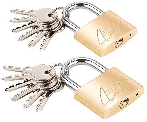 AGT Schlösser: 2er-Set Vorhängeschlösser aus Messing, 48 mm, 12 Schlüssel (Vorhängeschloss-Zylinderschlösser)