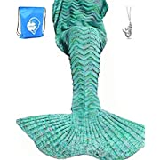 LAGHCAT Mermaid Tail Blanket Knit Crochet Mermaid Blanket for Adult/Kids, Oversized Sleeping Blanket, Wave Pattern