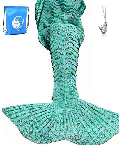 LAGHCAT Mermaid Tail Blanket Knit Crochet Mermaid Blanket for Adult, Oversized Sleeping Blanket,...